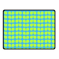 Blue Lime Leaf Pattern Fleece Blanket (Small)