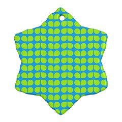 Blue Lime Leaf Pattern Snowflake Ornament (2 Side) by creativemom