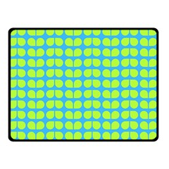 Blue Lime Leaf Pattern Double Sided Fleece Blanket (small)  by creativemom
