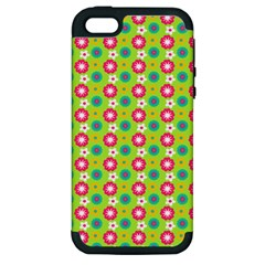 Cute Floral Pattern Apple Iphone 5 Hardshell Case (pc+silicone) by creativemom