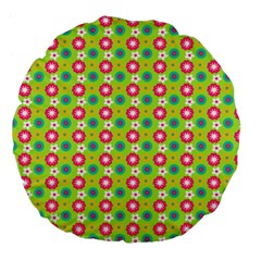Cute Floral Pattern Large 18  Premium Flano Round Cushions by creativemom