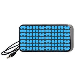 Blue Gray Leaf Pattern Portable Speaker (Black)  by creativemom