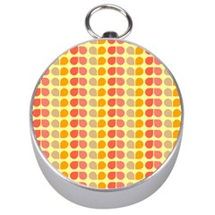 Colorful Leaf Pattern Silver Compasses by creativemom