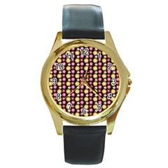 Cute Floral Pattern Round Gold Metal Watches by creativemom