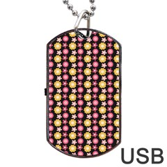 Cute Floral Pattern Dog Tag Usb Flash (one Side)