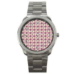 Cute Floral Pattern Sport Metal Watches by creativemom