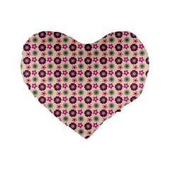 Cute Floral Pattern Standard 16  Premium Flano Heart Shape Cushions by creativemom