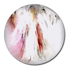Abstract Angel in White Round Mousepads by theunrulyartist