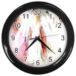 Abstract Angel in White Wall Clocks (Black) Front