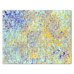 Abstract Earth Tones With Blue  Rectangular Jigsaw Puzzl