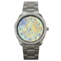 Abstract Earth Tones With Blue  Sport Metal Watches by theunrulyartist
