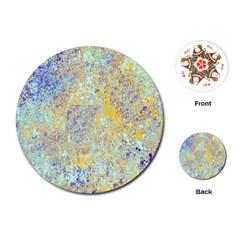 Abstract Earth Tones With Blue  Playing Cards (round)  by digitaldivadesigns