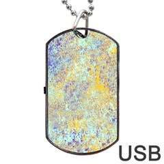 Abstract Earth Tones With Blue  Dog Tag Usb Flash (two Sides)  by theunrulyartist