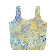 Abstract Earth Tones With Blue  Full Print Recycle Bags (m)  by theunrulyartist