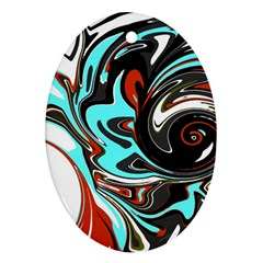 Abstract In Aqua, Orange, And Black Ornament (oval)  by theunrulyartist