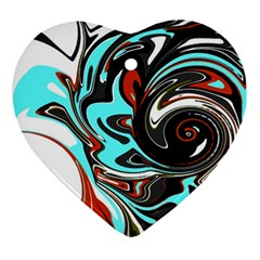 Abstract In Aqua, Orange, And Black Ornament (heart)  by theunrulyartist