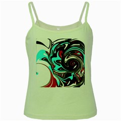 Abstract In Aqua, Orange, And Black Green Spaghetti Tanks by theunrulyartist