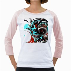 Abstract In Aqua, Orange, And Black Girly Raglans by theunrulyartist