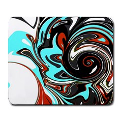 Abstract In Aqua, Orange, And Black Large Mousepads by theunrulyartist