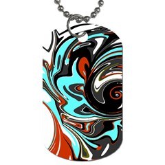 Abstract In Aqua, Orange, And Black Dog Tag (one Side) by theunrulyartist