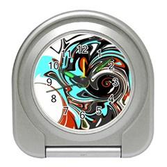 Abstract In Aqua, Orange, And Black Travel Alarm Clocks by theunrulyartist