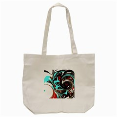 Abstract In Aqua, Orange, And Black Tote Bag (cream)  by theunrulyartist