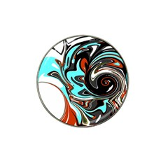 Abstract In Aqua, Orange, And Black Hat Clip Ball Marker (4 Pack) by theunrulyartist