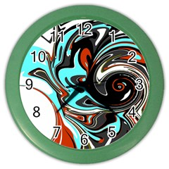 Abstract In Aqua, Orange, And Black Color Wall Clocks by theunrulyartist