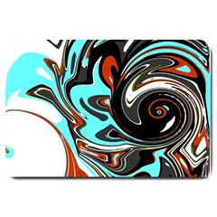 Abstract In Aqua, Orange, And Black Large Doormat  by theunrulyartist