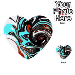 Abstract In Aqua, Orange, And Black Multi Purpose Cards (heart)  by theunrulyartist
