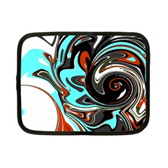 Abstract In Aqua, Orange, And Black Netbook Case (small)  by theunrulyartist
