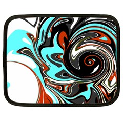 Abstract In Aqua, Orange, And Black Netbook Case (large)	 by theunrulyartist