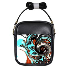 Abstract in Aqua, Orange, and Black Girls Sling Bags by theunrulyartist