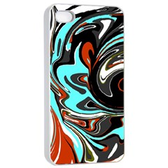 Abstract In Aqua, Orange, And Black Apple Iphone 4/4s Seamless Case (white) by theunrulyartist
