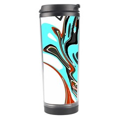 Abstract In Aqua, Orange, And Black Travel Tumblers by theunrulyartist