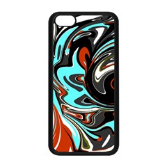 Abstract In Aqua, Orange, And Black Apple Iphone 5c Seamless Case (black) by theunrulyartist