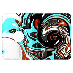 Abstract In Aqua, Orange, And Black Kindle Fire Hdx Flip 360 Case by theunrulyartist