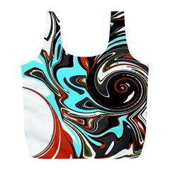 Abstract In Aqua, Orange, And Black Full Print Recycle Bags (l)  by theunrulyartist