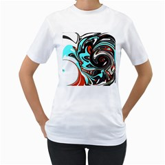 Abstract In Aqua, Orange, And Black Women s T Shirt (white)  by theunrulyartist