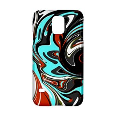 Abstract In Aqua, Orange, And Black Samsung Galaxy S5 Hardshell Case