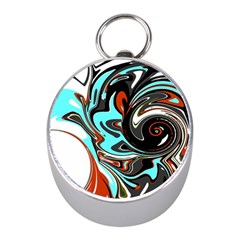 Abstract In Aqua, Orange, And Black Mini Silver Compasses by theunrulyartist