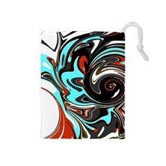Abstract In Aqua, Orange, And Black Drawstring Pouches (medium)  by theunrulyartist