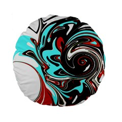 Abstract In Aqua, Orange, And Black Standard 15  Premium Flano Round Cushions by theunrulyartist