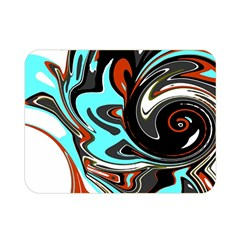 Abstract In Aqua, Orange, And Black Double Sided Flano Blanket (mini)  by theunrulyartist