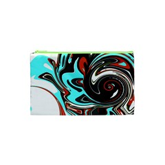 Abstract In Aqua, Orange, And Black Cosmetic Bag (xs) by theunrulyartist