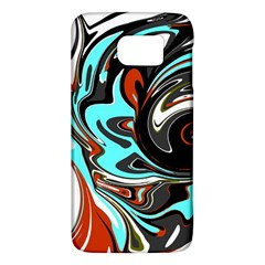 Abstract In Aqua, Orange, And Black Galaxy S6 by theunrulyartist