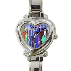 Abstract City Design Heart Italian Charm Watch by theunrulyartist