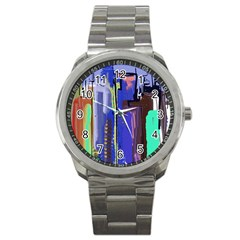 Abstract City Design Sport Metal Watches by theunrulyartist
