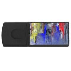 Hazy City Abstract Design Usb Flash Drive Rectangular (4 Gb)  by theunrulyartist