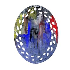 Hazy City Abstract Design Oval Filigree Ornament (2 Side)  by theunrulyartist